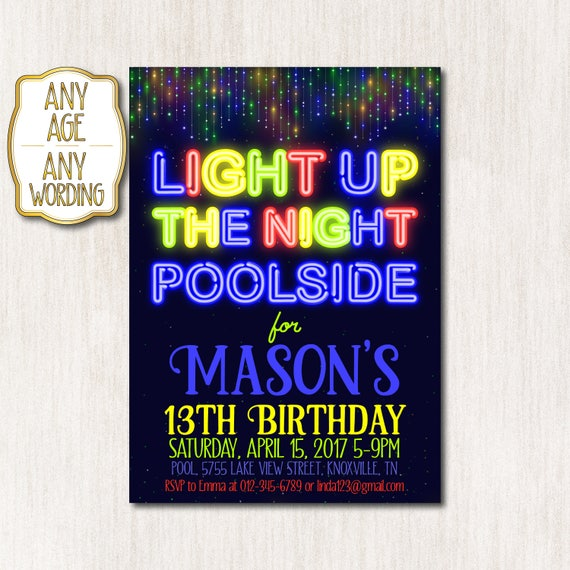Pool Party Invitation Neon Birthday Boy