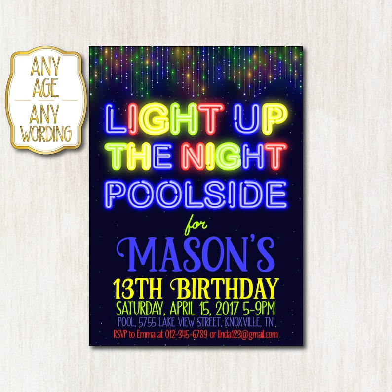 Pool Party Invitation Neon Birthday Boy