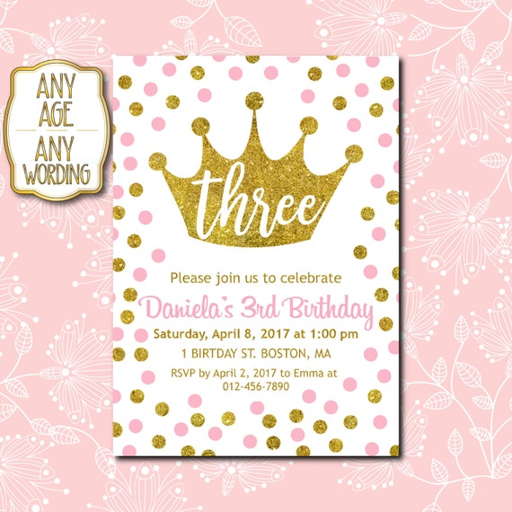 3rd birthday invitation pink and gold 3rd birthday etsy