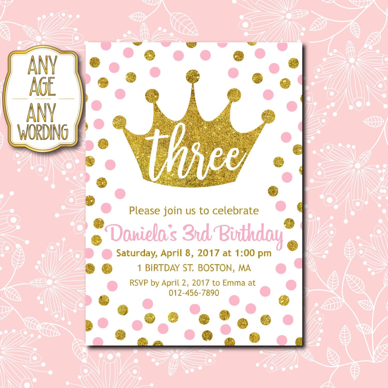 3rd Birthday invitation Pink and Gold 3rd Birthday   Etsy