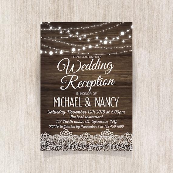 Rustikale Hochzeit Empfang Einladung Hochzeitseinladung Etsy