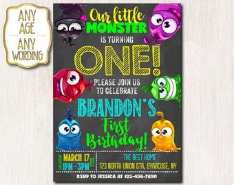 Monster Birthday Invitation, Monster Party, Little Monster Invitation, Little Monster Party, First Boy Birthday Invitations, ANY AGE - 1681
