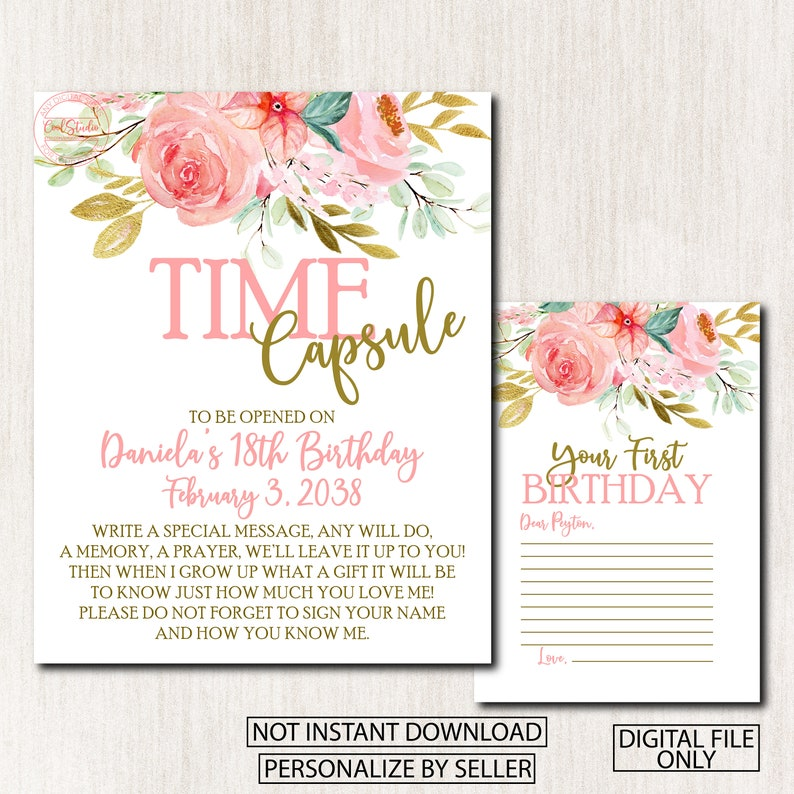 Time Capsule For 1st Birthday Invitation Floral Time Capsule First Birthday Sign 1866