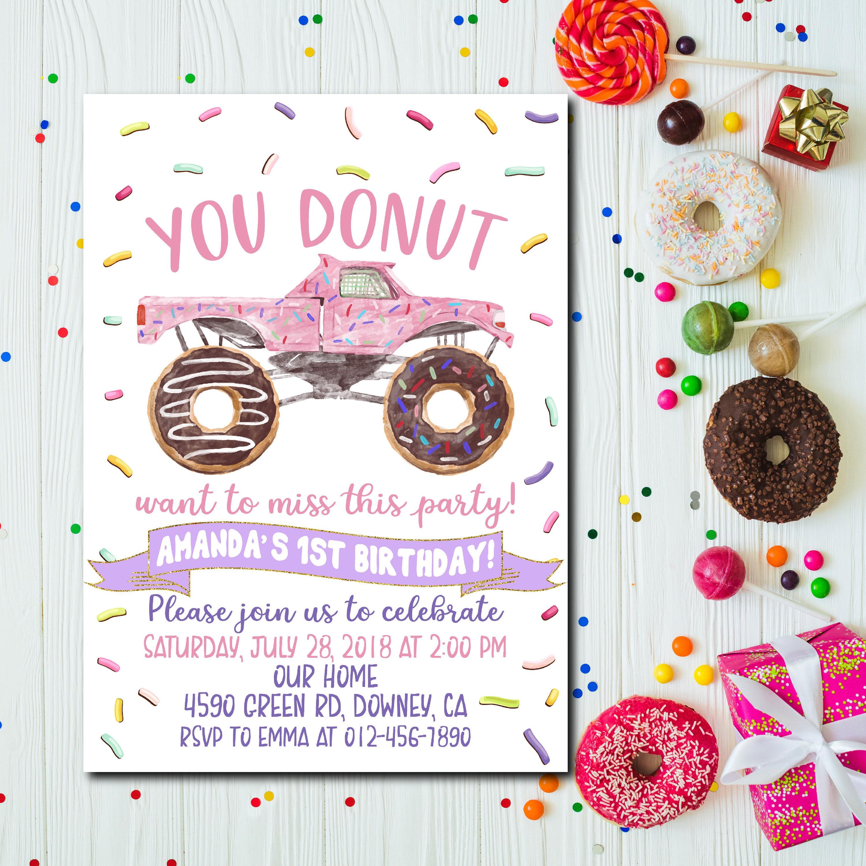 Donut Birthday Invitation Monster Truck Donut Donut Birthday | Etsy