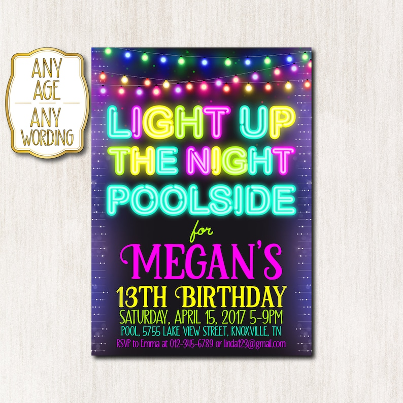 Pool Party Invitation Neon Birthday Party 13th Neon Birthday