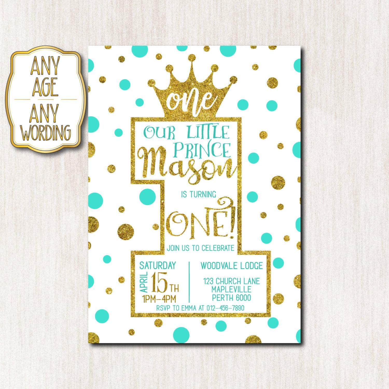 1st Birthday invitation Prince 1st Birthday Invitation Crown   Etsy