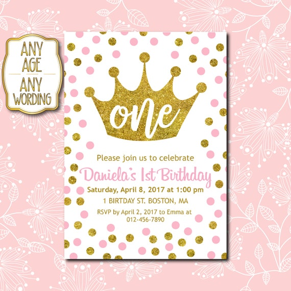 1st Birthday Invitation Princess 1st Birthday Invitation Etsy
