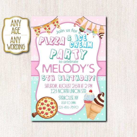 pizza and ice cream party invitation 5th birthday invitation etsy