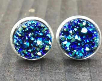 Druzy Stud Earrings, Titanium Blue druzy, silver stud druzy earrings