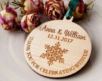 wedding ornaments wooden wedding favors wooden ornaments personalized ornaments winter wedding favors set of 25 pc