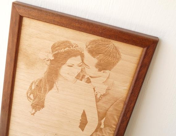 5 Hochzeitstag Geschenk Graviert Holz Foto Bild Gravur Auf Etsy