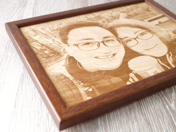 5th Wedding Anniversary Gift.5th Wedding Anniversary Gift Engraved Wooden Photograph Picture Engraving On Wood Wooden Anniversary Gift Your Wedding Picture On Wood
