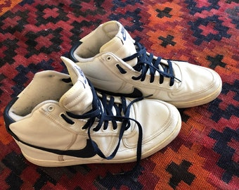 Vintage, 80s, 90s, high top, nike, sneakers, navy and white, mens, size 12