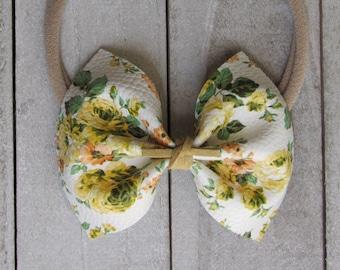 Vintage Lemon floral faux leather bow