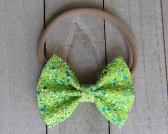 Neon green sparkle bow