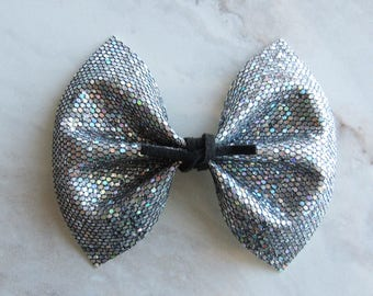 Disco ball silver bow with black suede tie center