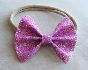 Love letter light purple sparkle bow