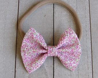 Strawberry kiwi glitter bow