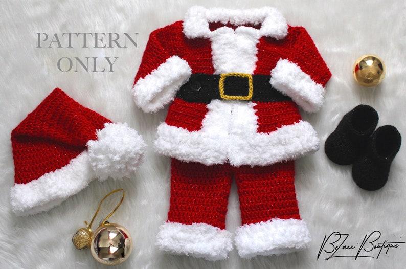fdf0e25fe Christmas Baby Santa Suit Pattern, Santa Hat, & Santa Boots Crochet PATTERN  ONLY Set - Size 0 to 3 month - PDF File Instant Download