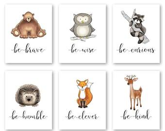 Nursery Print Set Woodland Nursery Animal Wall Art Set of 6 Nursery Wall Art Nursery Prints Animal Nursery Art Woodland Baby Woodland Animal