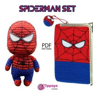 Crochet pattern super heroes spiderman purse amigurumi ironman Crochet purse pattern of Superhero ironman pattern amigurumi pattern