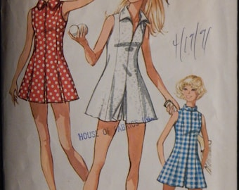 Vintage Misses' Tennis or Sport Dress and Shorts (Simplicity 9406) Size 12