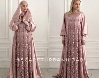 c94d34572b Blush pink silk satin maxi dress with long sleeves, Muslim dress , nikkah  wedding outfit, elegant hijab