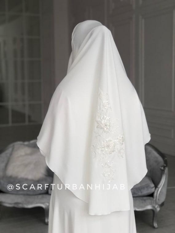 Muslim wedding dress with khimar, bridal hijab, hikkah costume, islamic  wedding clothing