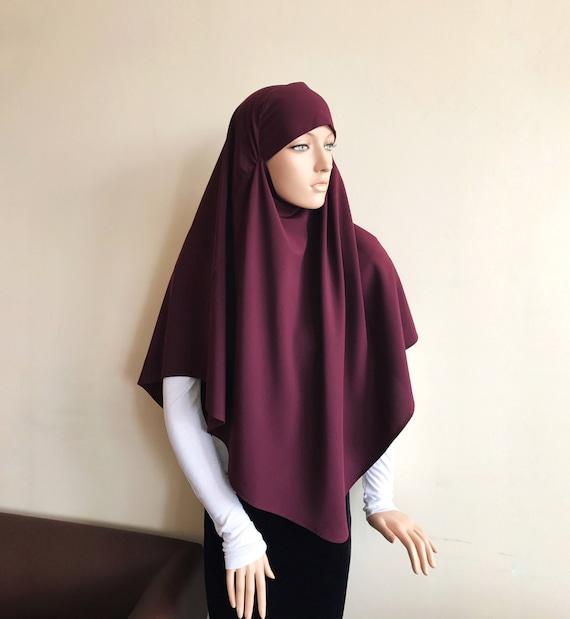 Burgundy tie khimar traditional 1 piece hijab ready to wear | Etsy