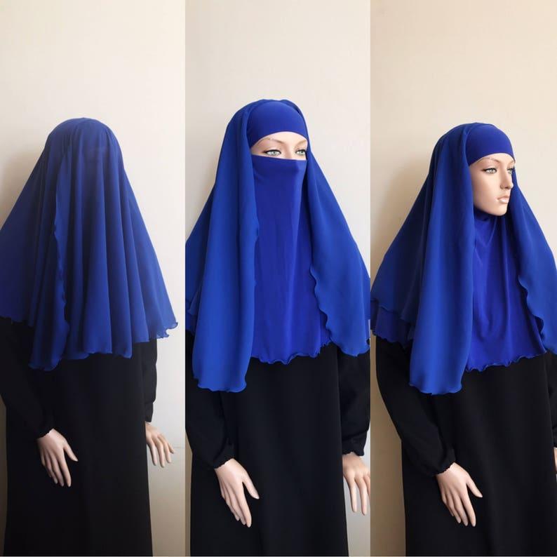 87afcccae6ad9 Niqab blue veil niqab transformer Navy niqab closed face | Etsy