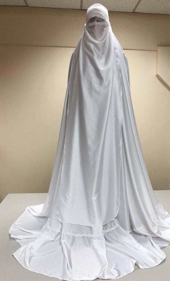 White long burqa Muslim niqab wedding hijab hajjie | Etsy