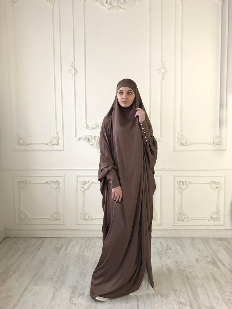 Brown Long Silk Khimar Elegant muslim dress caramel  067a02154673