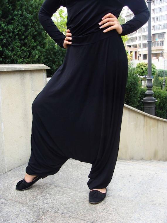 Schwarz Franch Khimar Anzug, muslimischen Sportanzug, Harem Hose, islamische Kleid, stilvolle Sport Hijab, grau Niqab, Boho Hose, Afghani Hose