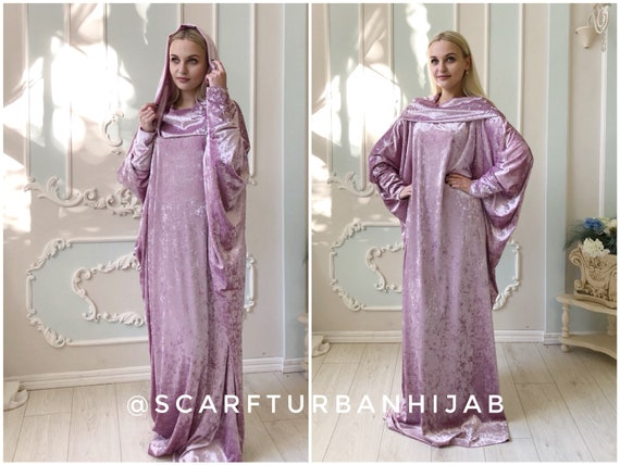 Pink color velvet fee size maxi dress with hood, bohemian style mantle  dress, plus size evening clothing, loose elegant dress, Muslim abaya