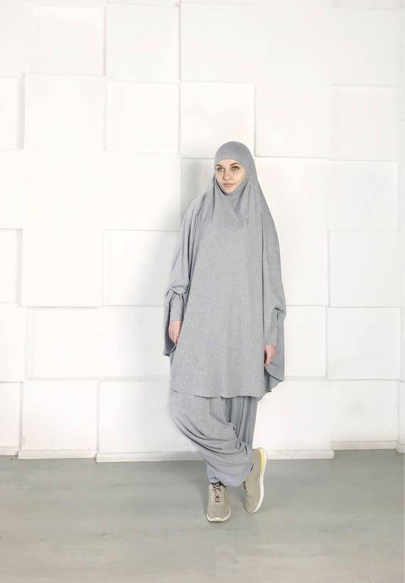 Franch Khimar Anzug, muslimischen Sportanzug, Harem Hose, islamische Kleid, lange Hijab, stilvolle Sport Hijab, grau Niqab, Boho Hose, Afghani Hose