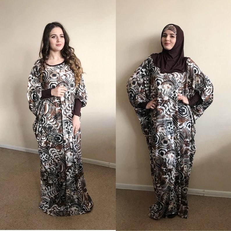 5559f954b9c87 Brown Maxi Dress Plus Size Prayer dress Farasha Caftan | Etsy