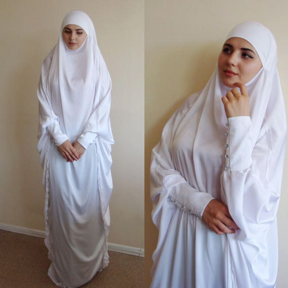 White Silk Khimar Muslim Dress Wedding Burqadubai Abaya Etsy