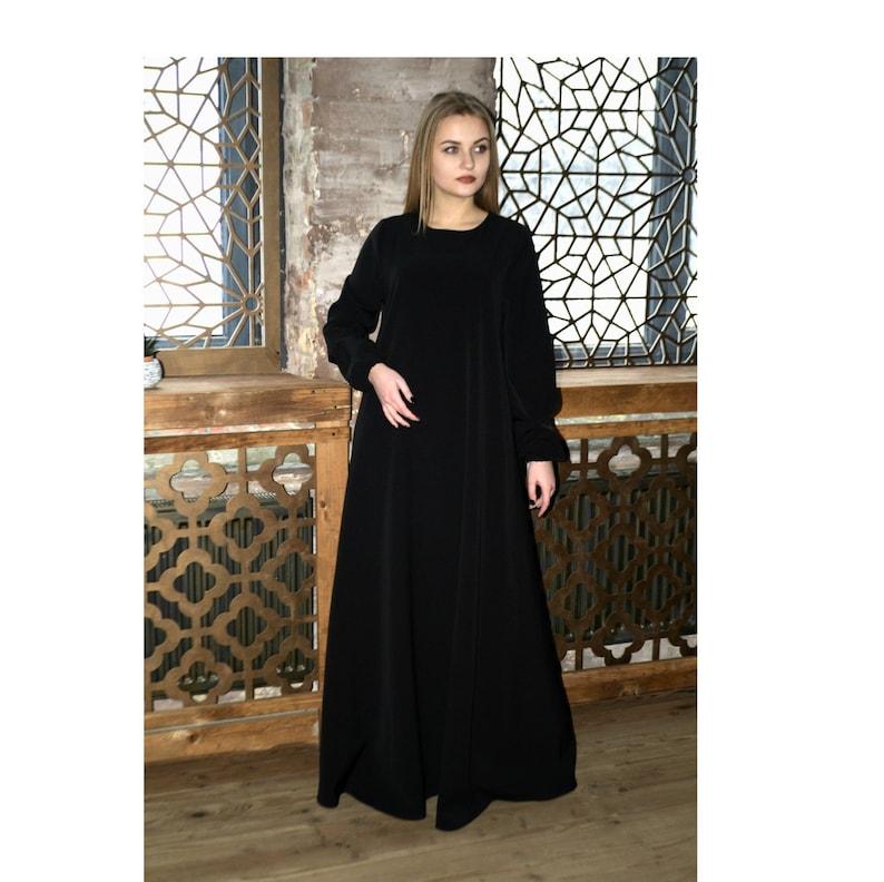 Maxi Jurk Basic.Zwarte Maxi Dress Abaya Oversized Jurk Islamitische Etsy