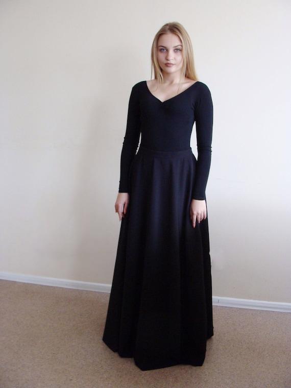 Bedwelming Zwarte maxi rok uitlopende rok moslim kleding Plus sixe | Etsy &QP29