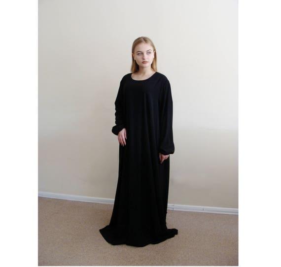 Black Summer Maxi Dress Abaya Oversize Dress Muslim Etsy