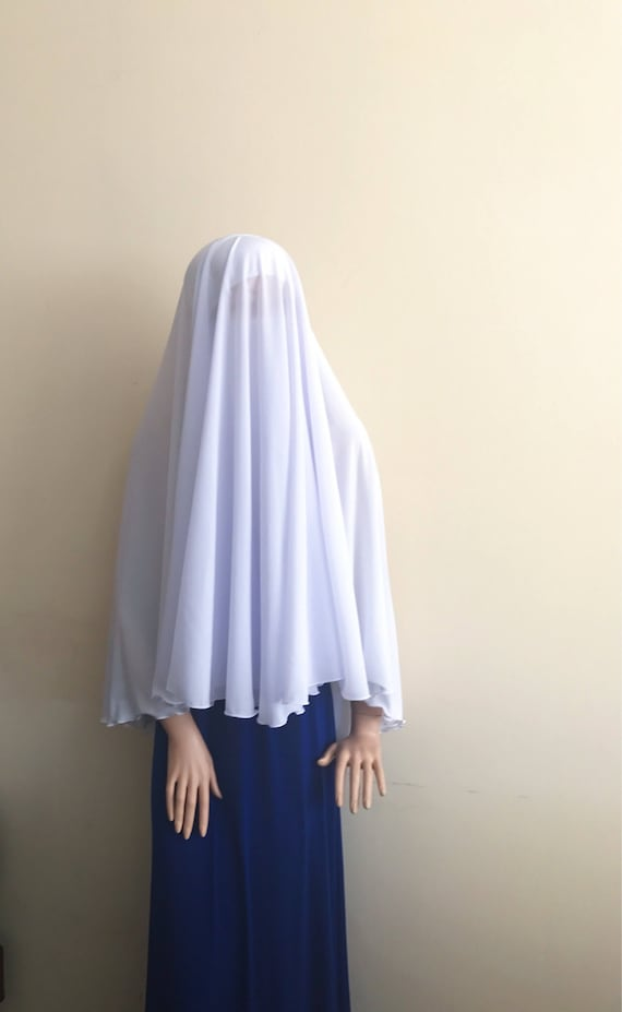 Niqab veil white color long hijab niqab transformerBlack | Etsy