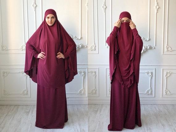 Burgundy Jilbab Suit With Skirt Transformer Khimar Niqab