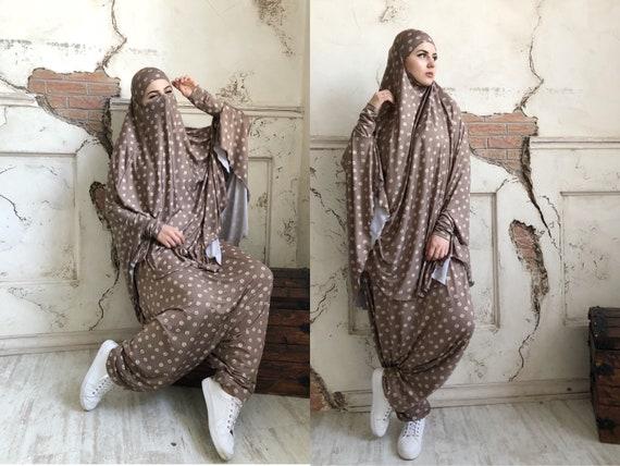 Franch Khimar Beige Anzug, muslimischen Sport Anzug Jilbab, Harem Hose, lange Hijab, stilvolle Sport Hijab, braun Niqab, Afghani Boho Hose