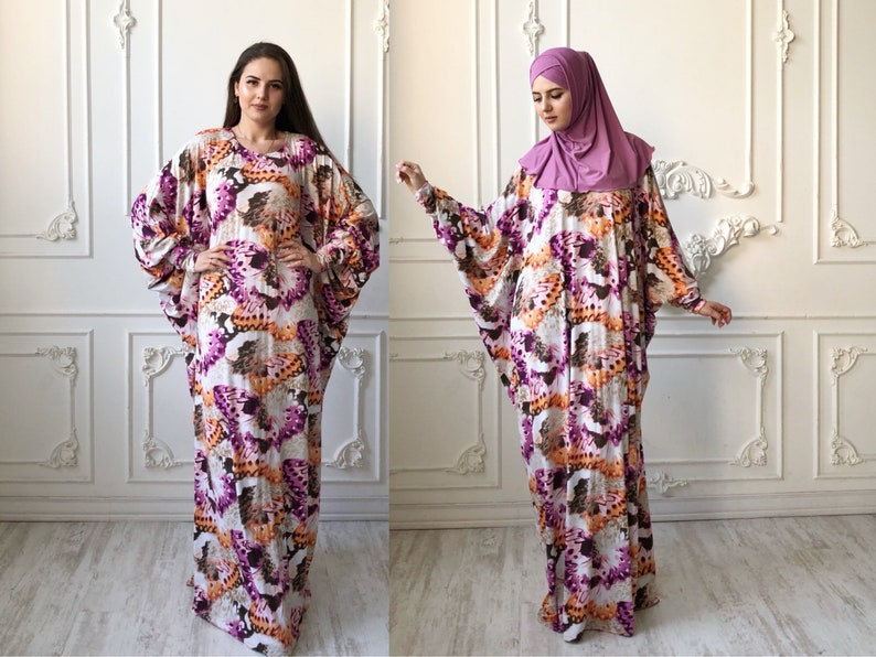 dc9664fd6bf51 Bohemian plus size maxi dress colorful long sleeve islamic | Etsy