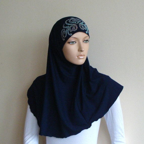 1 piece Al Amira Hijab Pearl Beading and Rhinestones Muslim Women Head cover
