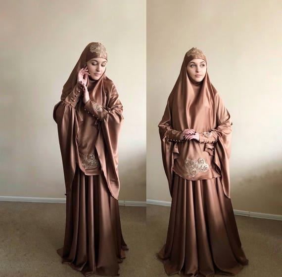 Elegant Muslim Suit Silk Jilbab Wedding Khimar Engagement Etsy