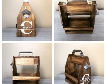 Wood Beer Caddy / Beer Bottle Opener / Six Pack Holder / Wooden Beer Carrier / Beer Holder / Beer Lover Gift / Craft Beer Gift / CUSTOMIZE