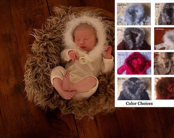 Newborn Baby girl,Pinky Red ,Taupe,& Off White Unisex ,medium leg,long sleeved,hooded with fur trim,Autumn/Romper.For photo shoot,Photo Prop