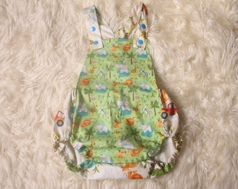 Baby Boy Romper,Safari print,Photography Prop,Cotton,Adjustable shoulder straps,Cake Smash Photoshoot,Hand Made in the UK,I ship worldwide,