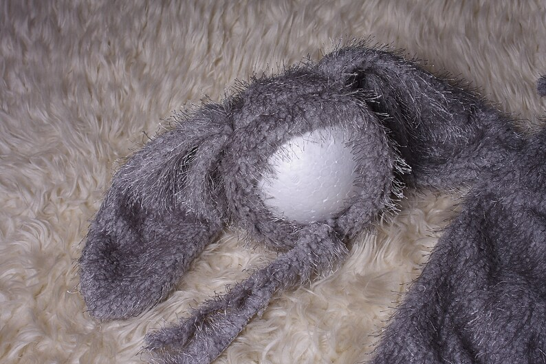 Newborn,Unisex Boy,Baby Girl silver grey bunny romper and bonnet set In lovely stretchy  soft fur fabric,Easter bunny photo shoot romper